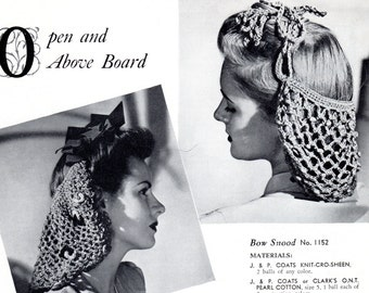 Beaded Snood & Bow Snood, Crochet, 2 Snood Patterns, Vintage 1943, Instant Download