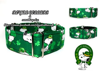 St. Patrick's Martingale Collar, 2 Inch Martingale Collar, Cartoon Dog Collar, Snoopy dog