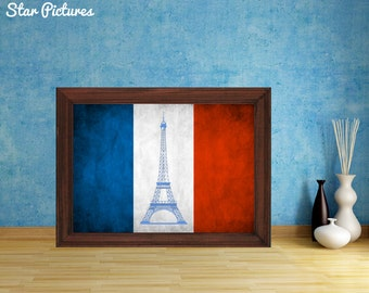 Eiffel Tower Paris poster print. Flag of France. Wall art decor. Vintage looking French flag with a picture of the Eiffel Tower.