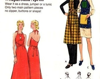 Butterick 6392 Sassy Wraparound Apron Dress or Jumper 1970's / SIZE-PETITE UNCUT