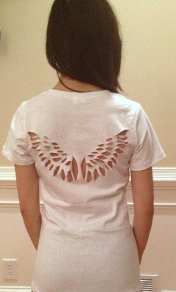 Angel wings cut out t shirt made to order for Cut out tee shirt