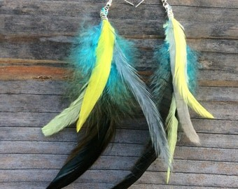 Feather Earrings Blue Grey Yellow