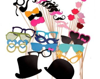 Sale !!! DIY 36 Photo Booth Props Photobooth prop On a Stick Mustache Moustache Party Little Man Gender Reveal Bash Weddings