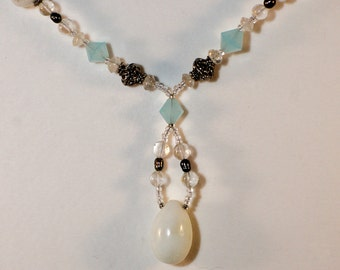 Sky Blue Hemmimorphite | Aquamarine | Pearls | Clear Quartz Necklace | Art Deco | Free Shipping & Gift Box/Bag SALE!