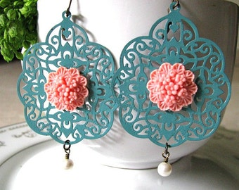 Turquoise Patina Lace Filigree Floral Earrings, Verdigris Filigree Earrings, Shabby Chic, Large Filigree Dangle Earrings