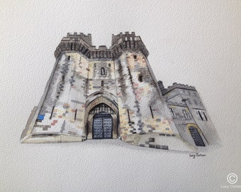 Print of Watercolour Painting of Lancaster Castle, by Lucy Cortese