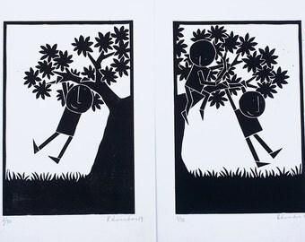 Climber 3 - Original linocut prints (both 'Climbing' prints at a discounted price)