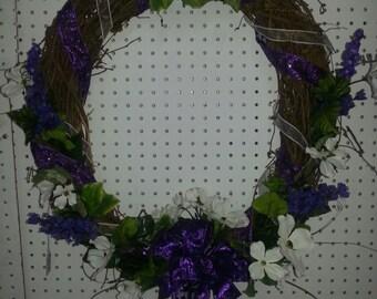 Grapevine Dogwood Flower Wreath