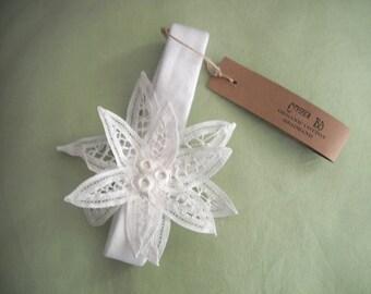 Organic cotton baby headband with crochet flower