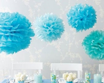 Tissue Paper Flowers set of 15 (4/5/6) - Blue - Hanging Flowers - Paper Pom Poms - Paper Balls - Wedding set - Birthday decorations