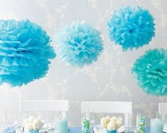 Tissue Paper Flowers set of 12 (4/4/4) - Blue - Hanging Flowers - Paper Pom Poms - Paper Balls - Wedding set - Birthday decorations