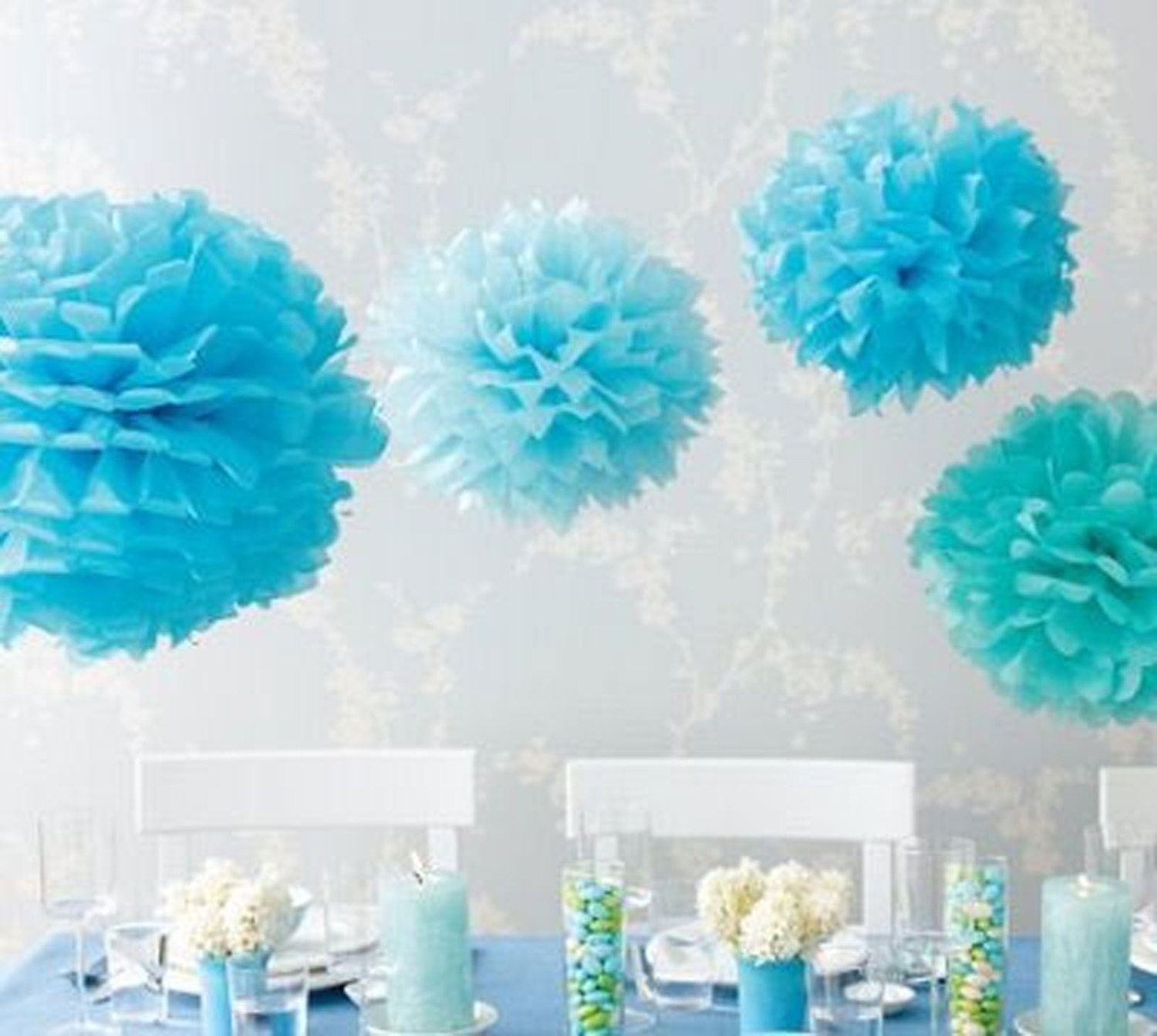 Tissue Paper Flowers set of 12 (4/4/4) - Blue - Hanging Flowers ...