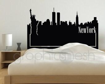 Wall decal NEW YORK SKYLINE headboard - Interior bedroom decor by GraphicsMeshs
