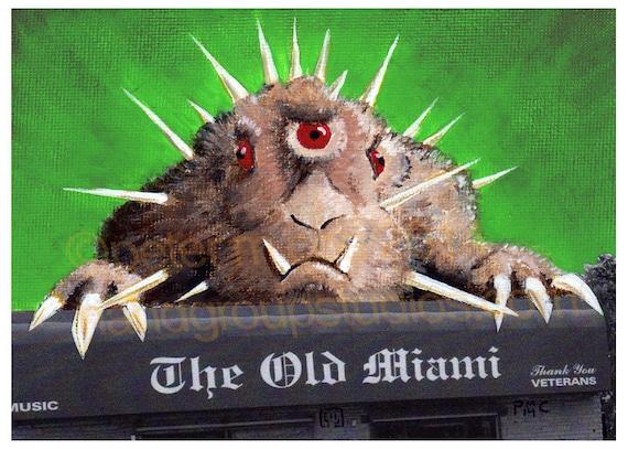 "Detroit Kaiju Bunny Lepus Monster 5x7 Print ""Samulon Raids The Old Miami"" Original Art Print by Pete Coe"