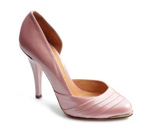 Stiletto shoe pleated - pink metallic