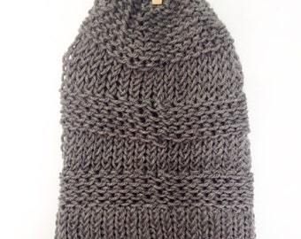 Teen/ Adult Grey Knitted Slouch Beanie