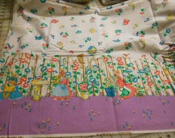 "Bunny Fence Border Print Fabric  36"" x 44"""