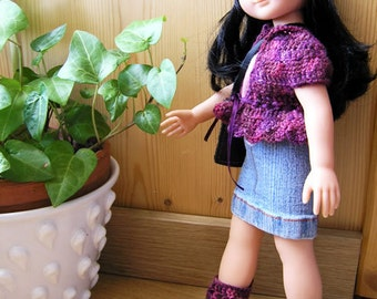 "PDF crochet pattern for 13"" doll clothes - Chéries boots and bonus clothes - fits Cheries and H4H dolls"