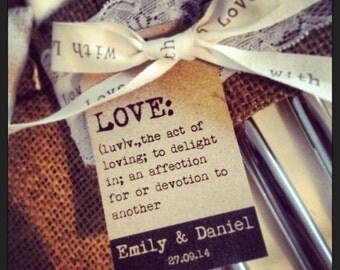 20 Vintage Shabby Chic 'Love: (luv)' tags for weddings/birthdays/christenings