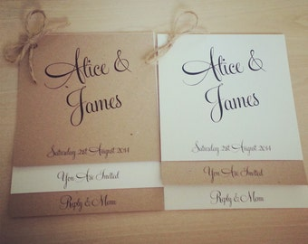 Vintage/Rustic brown/ivory wedding invitation with twine - Alice range