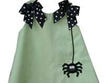 Spider Dress,Halloween Dress, Applique Dress,Lime Gingham