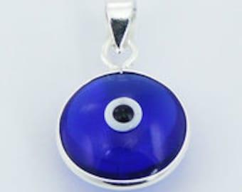 Handmade Blue Glass Evil Eye Pendant - Sterling Silver framed