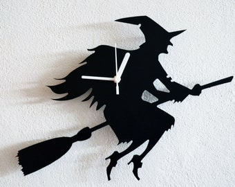 Halloween Witch Silhouette - Wall Clock