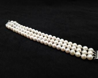 Triple Strand Pearl Bracelet, AAA Pearl bracelet, 7.5- 8mm Pearl Bracelet, Genuine Pearl Bracelet, 7.5 Inches Pearl Bracelet