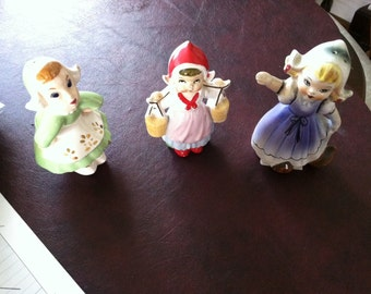 3 Dutch girl Salt and pepper shakers