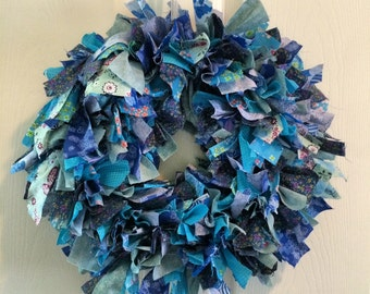 Blue Fabric Shag Wreath