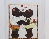 Two bear kissing Valentine card  in Yoruba, Igbo, Hausa, Akan, swahili, Shona languages