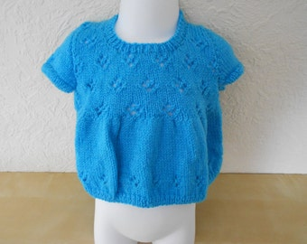 NEW - 1-2yr old, short sleeved summer tunic/top with buttoned shoulder fastenings in turquoise