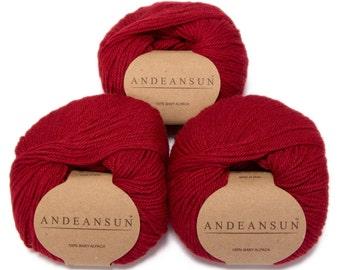 100% Baby Alpaca Yarn Skeins. Set of Three. Red 2055