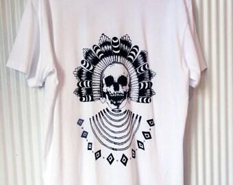 Mens white pocket shirt screen printed - SKULL