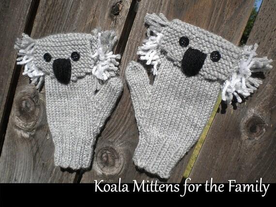 Knitting Pattern For Koala Bear Mittens : Koala Mittens for the Family Knitting Pattern
