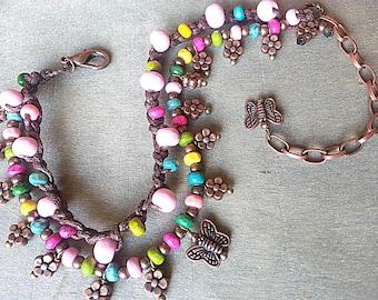 Boho anklet, Bohemian bracelet, Hippie anklet, Hippy bracelet, Gypsy anklet, Belly dance jewelry, flowers Ankle bracelet