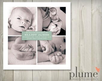 Baby Announcement — Square Baby Photo Collage Announcement