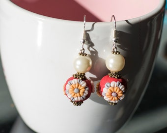 Handmade red pearlescent  polymer clay applique earrings