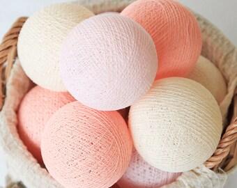 Sweet Peach Pastel Cotton Ball String Lights for Bedroom, Kid's room, Nursery, Birthday Gift, Wedding, Patio, Party, Fairy, Customizable