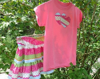 Girls tee shirt set, childrens, skirt and matching appliqued tee, size 10, pink, green, white, hearts, elastic waistband
