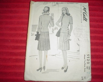 1940's Misses Two Piece Day Or Evening Dress - Vintage Sewing Pattern - Mc Call  5520 -  Size 14