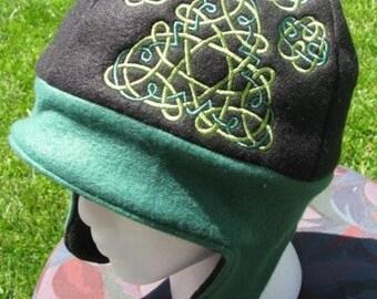 Celtic Paw Print Black and Green Fleece Ear Flap Hat