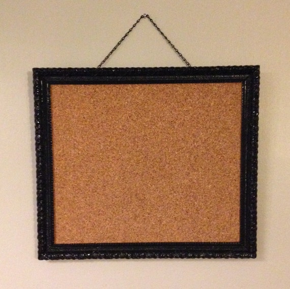 Black Ornate Framed Bulletin Board, Vintage Framed Cork Board, Hanging Framed Memo Board, Ornate Bulletin Board