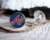 Atlanta Braves baseball personalized superhero cufflinks, cool gifts for men, wedding silver plated or black cuff link