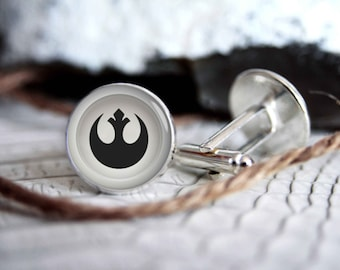 Star wars rebel alliance cufflinks, cool gifts for men, wedding silver plated or black cuff link