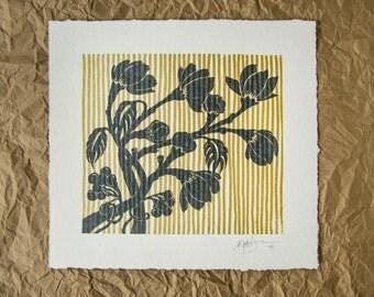Hand Screen Printed Art Print // Flowers & Stripes