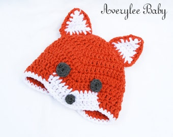 Baby Fox Hat, Orange Fox Hat, Infants and Toddlers, Preemie Hat, Photo Prop, Fox Crochet Hat for Baby's, Baby Shower Gift, New Baby Gift