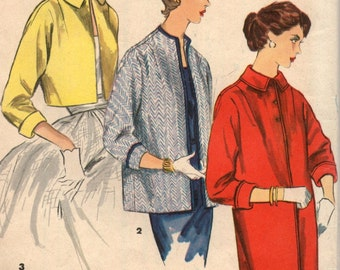"Vintage 50's Jacket Coat Topper in 3 Lengths Sewing Pattern  Simplicity 1451 Uncut Size 12 Bust 30 ""Simple to Make"""