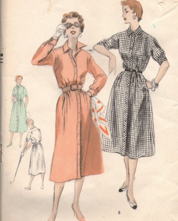 Vintage 50 39 S Vogue Button Down Front Shirt Dress Pattern