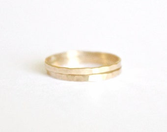 2 Signature Stacking Rings - 14k Gold or Sterling Silver - Skinny Ring - Textured Ring - Hand Forged - Hammered Ring - Simple - Gold Filled
